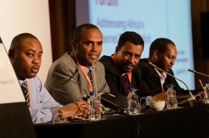 Dawit Bekele, the Internet Society&#039;s Regional Bureau Director for Africa, speaking at a press conference at the African Peering and Interconnection Forum (AfPIF) in Johannesburg, South Africa on 23 August 2012 to announce the the Society&#039;s selection as the implementation partner for the African Union&#039;s African Internet Exchange (AXIS) Program, which aims to establish internet exchange points in 33 African countries. To Mr Bekele&#039;s right is Michuki Mwangi, Internet Society Regional Development Manager - Africa. To his left are Moctar Yedaly, African Union Commission Head of Posts and Telecommunications; and Moses Bayingana, African Union Commission ICT Expert. (Image: Nyani Quarmyne/ Internet Society)
