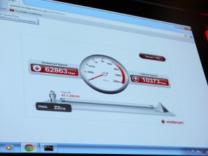 The live speed test that was done during the LTE announcement (image: Charlie Fripp)