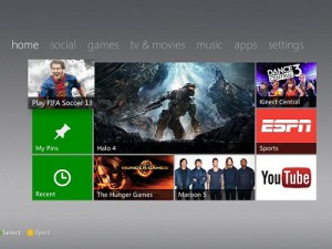 The new Xbox Dashboard&#039;s Home screen (image: Microsoft)