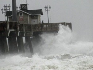 Hurricane Sandy has been battering the east coast of the U.S, causing massive property damage (image: Gerry Broome/AP)