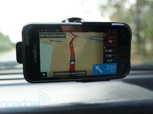 TomTom has upgraded their Android navigation app that adds functionality for more phone (image: Engadget)