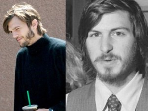 Ashton Kutcher as Steve Jobs (left), and the real Steve Jobs in the 60's on the right (image: Entertainment Weekly/Apple)