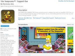 A screenshot of The Simpsons Tapped Out in the local iOS store (image: Apple)