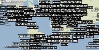 Mere hours after the news broke, #Mandela, #RiPMandela and #Mandela was trending on Twitter throughout the entire world (image: Trendsmap)