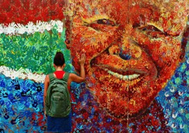 A mural of former South African President Nelson Mandela (image: http://laliencilliers.wordpress.com/)
