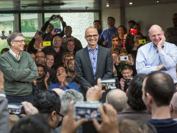 Satya Nadella (centre) with co-founder Bill Gates and former CEO Steven Ballmer (image: Microsoft)