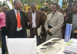 The Director General in charge of ICT in the Ministry of Youth and ICT, Didier Nkurikiyimfura touring various stands (image: supplied)