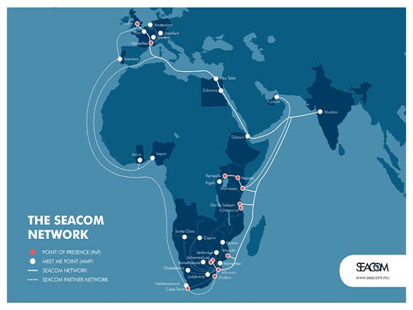 Seacom cable map