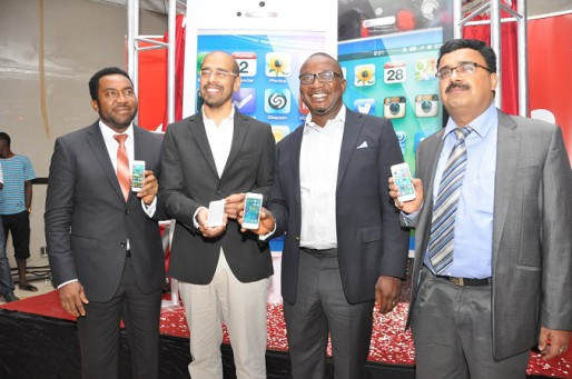 CEO/MD,Slot Nigeria limited, Nnamdi Ezeigbo, Director, Products and Innovations, Airtel Nigeria, Nitin Anand and Director, Marketing and Brands, Airtel Nigeria, Obinna Anichie and Country Manager, iStore Africa, Sachin Verma at the launch of iphone 5s by Airtel Nigeria in Lagos on Tuesday.