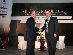 Frost & Sullivan's Vice President & Global Head for Growth, Brian Denker and myVRM President. Gil 2014 Middle East.
