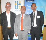 Speakers from (L-R): Director of Link Africa, Will Govender,Sales Director: Corporate Sector, Software AG, Riaaz Jeena and Chief Technology Officer of Digitlab, Steve Gardner excited about presenting for the first time at ICT business breakfast AT Hilton Hotel in Durban. Photo by S'mangele Zuma.