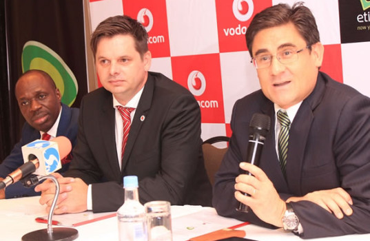 Chief Executive Officer,  Etisalat Nigeria, Mr. Matthew Willsher  highlighting a point while the Managing Director, Vodacom Business Nigeria, Mr. Guy Clarke and Executive Director of Commercial, Vodacom Business Nigeria, Mr. Solomon Ogufure listen with interest at the signing of a business agreement by the companies in Lagos on Tuesday.