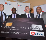 Bernard Matthewman CEO Interswitch East Africa with   Charles Ifedi (2nd Left) Verve International CEO,  Richard Coate (3rd L)  Verve (K)Country Manager and Mitchell Elegbe Interswitch Group CEO during recent launch of the Verve card in Nairobi