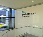 A Hewlett Packard Enterprise office features new branding. CREDIT: Hewlett Packard Enterprise