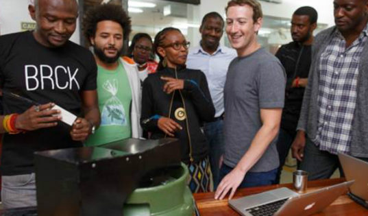 Founder and CEO of Facebook Mark Zuckerberg during a visit in Kenya.