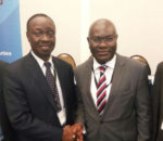 Shola Taylor (right), Secretary-General of CTO congratulating Patick Masambu (left), Director-General of ITSO.