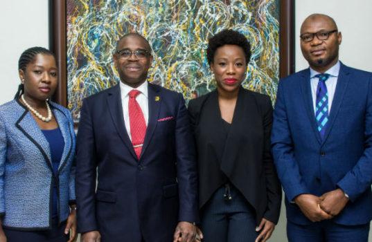 L – R: Mrs Adebimpe Ihekuna, Head Banking Products FirstBank; Mr Gbenga Shobo, Deputy Managing Director, FirstBank; Ebi Atawodi, General Manager for Uber in Nigeria and Mr Babatunde Lasaki, Head Media and External Relations FirstBank