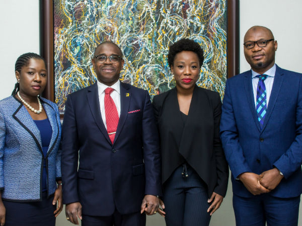 L – R: Mrs Adebimpe Ihekuna, Head Banking Products FirstBank; Mr Gbenga Shobo, Deputy Managing Director, FirstBank; Ebi Atawodi, General Manager for Uber in Nigeria and Mr Babatunde Lasaki, Head Media and External Relations FirstBank