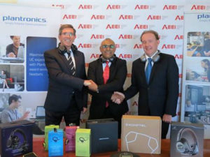 From left to right: Mr Rory Lavelle, Vice President of Plantronics – sales in Europe and Africa, Mr Khalid Abdulla, CEO of AEEI with Mr Tony Brown, CEO of Headset Solutions.