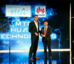 David Chen,Director of Marketing & Sales Solutions of Huawei Southern Africa Region, receiving the Award of the Most Significant LTE Development .