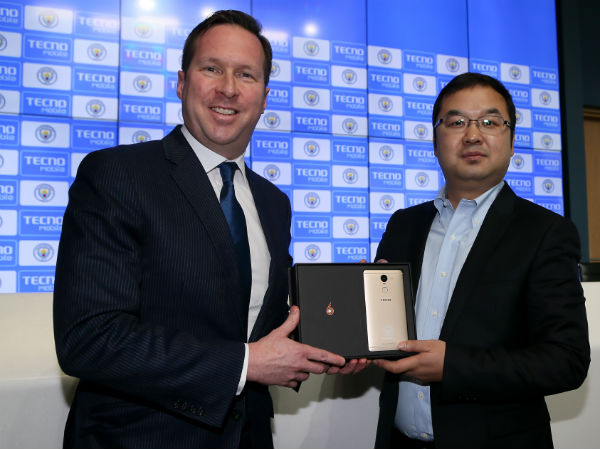 Stephen Ha, TECNO Mobile's Managing Director, and Tom Glick, Chief Commercial Officer for City Football Group, moments after signing the partnership agreement between TECNO Mobile and Manchester City. (FTP Edelman)