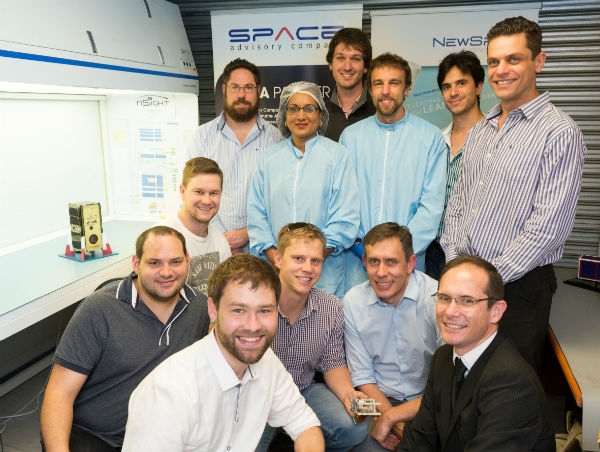 The core team that built SCS Aerospace Group's nSight1 nanosatellite in a record time of 6 months are at the front from left to right: Louis Muller, Dr. Francois Malan, Kannas Wiid, Rikus Cronje, Hendrik Burger; in the middle David Brill; and at the back Heinrich Fuchs, Premie Pillay, Philip Bellsted, Dr Lourens Visagie, Kevin Gema and Marcello Bartolini.