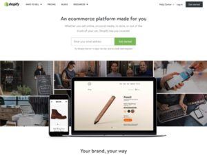 Shopify provides software tools for online retailers including storefronts, payment processing, and checkout apps.