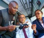 Sicily Kariuki, Public Service, Youth and Gender Affairs secretary (right) and Simon Kimutai, Matatu Owners Association chairmen (left)  (image: Huduma)