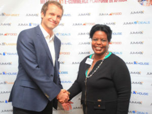 Jumia managing director Sam Chappatte (left) Ann Kirima, Chair of the Kenya Investment Authority.