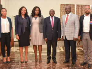From left to right: Kadijah Amoah (Head Investments VP's office), Sola Okeowo (Mastercard), Omokehinde Adebanjo (Area Business Head West Africa, Mastercard), His Excellency Vice President of Ghana Mr. Mahamudu Bawumia, Paul Tswanya (VP Government Services, Mastercard) and Obi Okwuegbunam (Country Manager for Ghana, Mastercard)