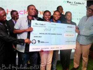 VoiceIt has won the 2017 Re: Code Nigeria Hackathon. (Image Source: Devcentre)