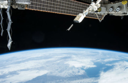 The 28 satellites which forms part of the European Union's QB50 project will all be deployed in this manner over a period of 30 to 60 days while the ISS orbits Earth. (image:NASA)