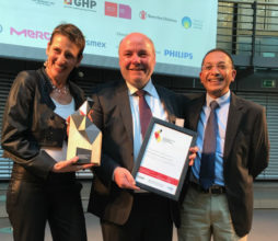Last night in Berlin, Daniela Rudner, Senior Technical Advisor, GIZ; Dirk Beils, MD, MACH4 Germany and Dr Shabir Banoo, Chief Technical Specialist for Pharmaceutical Programmes, Right to Care with the Global Health Award.