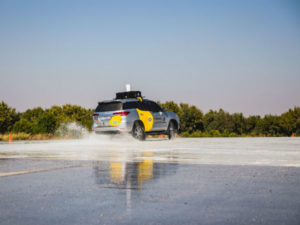 Demonstration of a live feed from a car on a skid pan at the Gerotek testing facility in Pretoria.