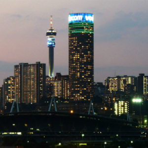 Johannesburg skyline at night