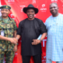 Regional Operations Director, Airtel Nigeria, Oladapo Dosunmu (middle); Major S.Y Hassan and Vice-Chairman, Warri South-West Local Government Area, Akpodubakaye Arthur during the launch of Airtel 4G LTE launch in Warri, Delta State