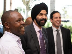 Ajay Banga visiting small shop to witness pay-as-you-go QR transaction