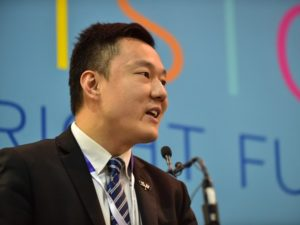 Gang Zhou deputy secretary of Shenzhen Outbound Alliance speaks at the ICEE-SA 2018 opening ceremony
