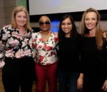 Debbie Wall, VP Sage Foundation, Josina Machel, Speaker & activist for violence against women, Kriti Sharma, AI lead at Sage & founder of AI for Good, Joanne van der Walt, Global Director Sage Foundation Promo