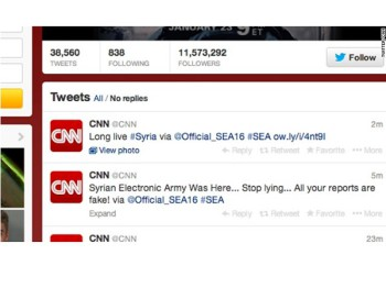 CNN announced on their website that a number of their social media sites have been hacked (image: CNN)