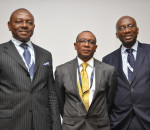 Airtel's Chief Commercial Officer, Mr. Maurice Newa (middle) who represented Mr. Segun Ogunsanya, MD/CEO of Airtel Nigeria; ex-Executive Vice Chairman of Nigerian Communications Commission (NCC) and Founder Open Media Group, Mr. Earnest Ndukwe (right) with Executive Commissioner, Stakeholders Management, NCC, Mr. Okechukwu Itanyi (left) at the 2014 Mobile West Africa Conference where Airtel CEO joined other professional to discuss mobile in Africa. On-going in Lagos, the event runs  from May 13 -16, 2014.