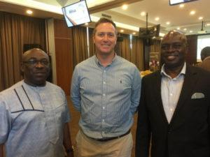 iManage Launch - left to right: Dep Min ICT Ghana Hon. Ato Sarpong; Darren Osborn, MD SevenC; Kwadwo Asumaning, MD AfricaOnline Ghana.