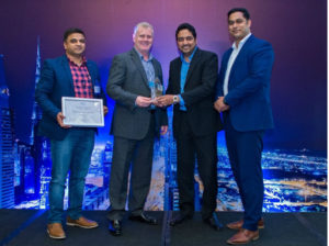 The ISYX team receives the 'Emerging Partner of the year' award from Cisco.