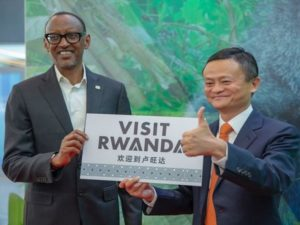 Rwandan President Paul Kagame and Alibaba Group Executive Chairman Jack Ma