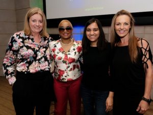 Debbie Wall, VP Sage Foundation, Josina Machel, Speaker & activist for violence against women, Kriti Sharma, AI lead at Sage & founder of AI for Good, Joanne van der Walt, Global Director Sage Foundation Promo