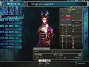 Screenshot of the character customization screen in Bloodstained: Ritual of the Night