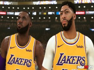 An in-game screenshot of Lebron James (left) and NBA 2K20 cover athlete Anthony Davis. Image sourced from Twitter.