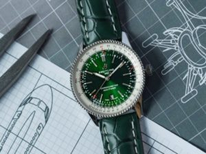 The Breitling Navitimer 1 Automatic 41 Limited Edition watch with an alligator strap