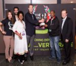 AbdulAziz Mohammed being handed his trophy. Image sourced from SA Innovation Summit.