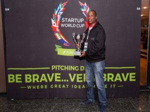 AbdulAziz Mohammed, co-founder of MPost and winner of the Main Pitching Den at the 2018 SA Innovation Summit. Image sourced from SA Innovation Summit.